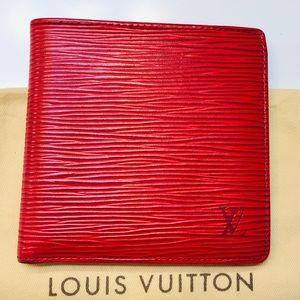 GENUINE LOUIS VUITTON Red Epi Marco Wallet
